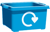 blue recycling box