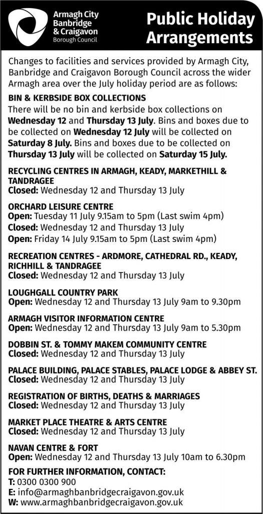 July Holiday arrangements