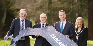 Helping to launch the inaugural Advanced Manufacturing Materials and Engineering (AMME) Conference, which will take place on Tuesday 31 March at Armagh City Hotel were, from left, Roger Wilson Chief Executive of Armagh City, Banbridge and Craigavon Borough Council, business broadcaster and host for the conference Jamie Delargy, Stephen Kelly from Manufacturing NI and Lord Mayor of Armagh City, Banbridge and Craigavon, Councillor Mealla Campbell.