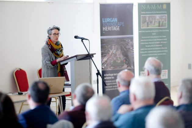 Delia Graham (Heritage and Historic Places Consultant) delivering her talk 'Preparing a Burial Ground Management Plan, with Belfast City Cemetery as a case study'