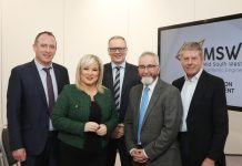 Pictured left to right Councillor Cathal Mallaghan, Deputy First Minister Michelle O'Neill, Armagh City, Banbridge and Craigavon Borough Council Chief Executive Roger Wilson, Professor Gordon Matheson and Councillor Robert Irvine.