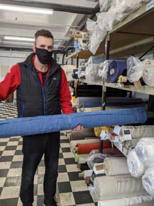 Employees at Ferguson's Irish Linen making face masks in the company's Banbridge factory