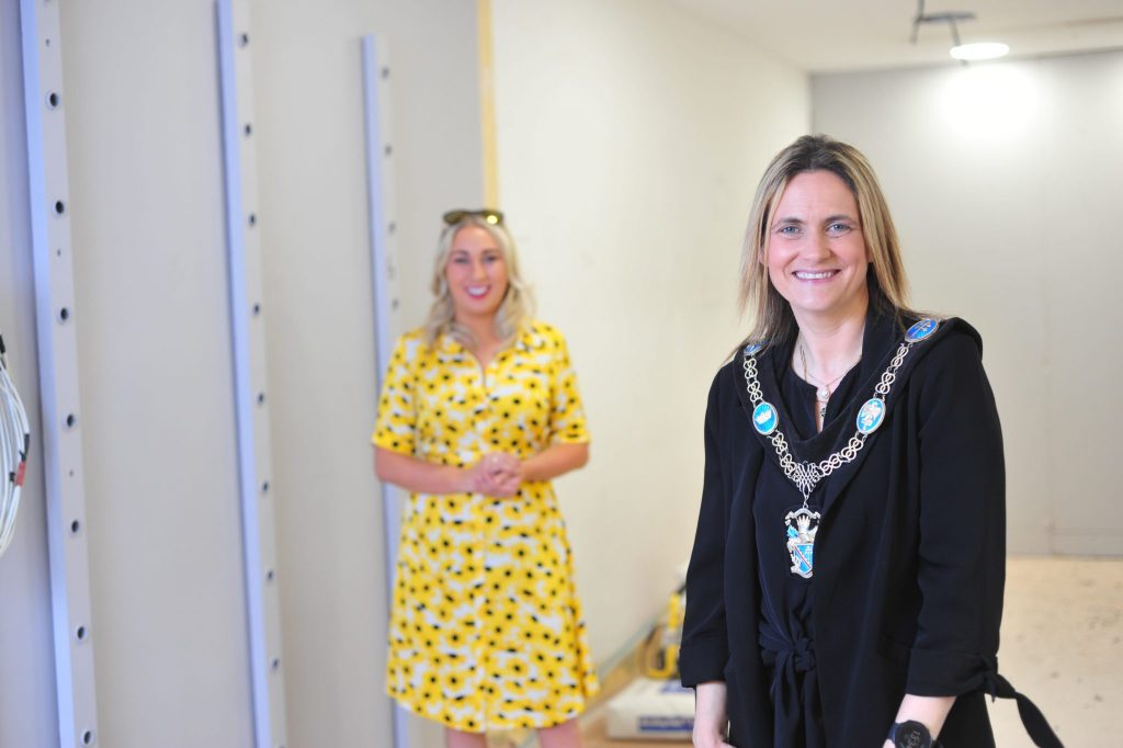 Lord Mayor Councillor Mealla Campbell visits Cara Derry of Crystal Boutique based in Armagh City Centre.