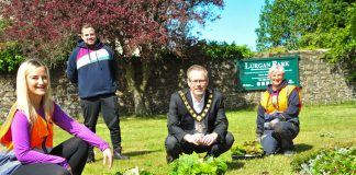 Lord Mayor, Councillor Kevin Savage pictured with council employees Amy Flynn, Michael McDaid and Debbie Knox as they help out with the planting of summer bedding at Lurgan Park last week.