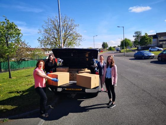 Volunteers delivering the weekly food parcels to vulnerable households in the North Lurgan area