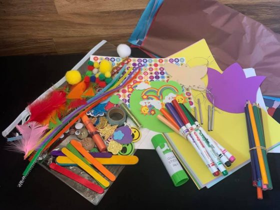 Arts and crafts packs for children put together by North Lurgan Community Association volunteers