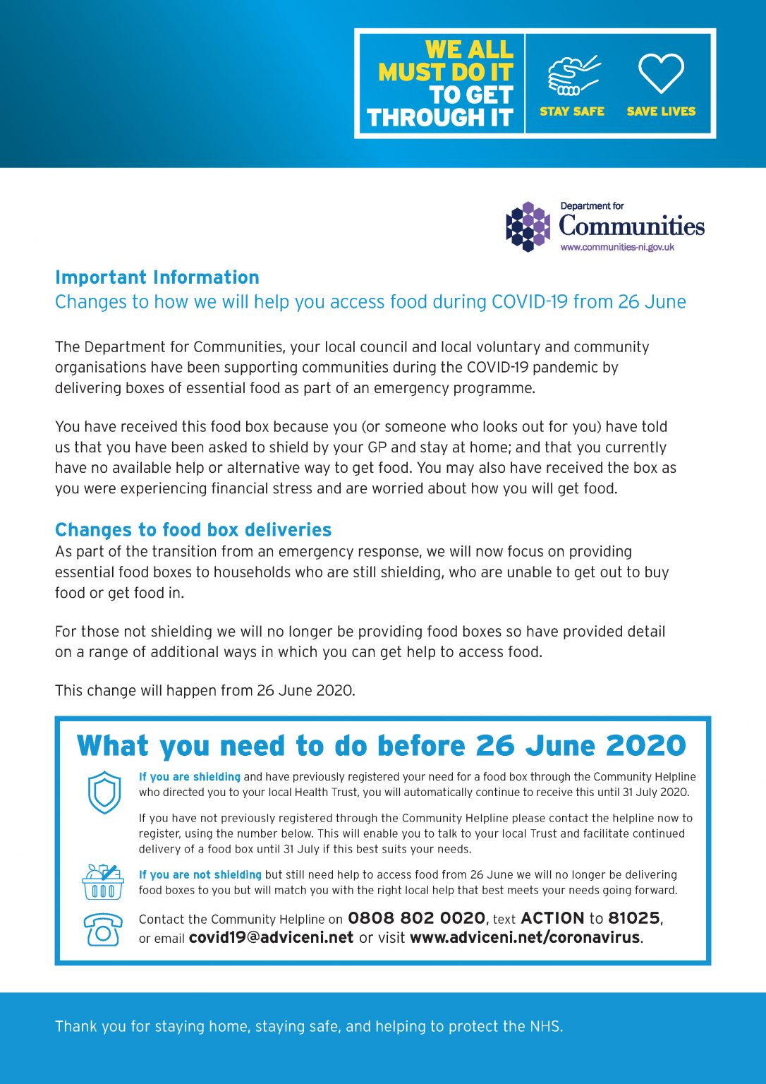 Important Information Changes to how we will help you access food during COVID-19 from 26 June