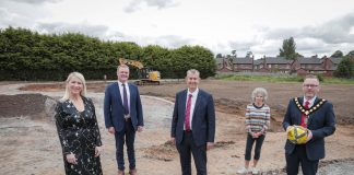 The village of Magheralin is to benefit from a new community soccer pitch following funding of £133,448 from DAERA under the LEADER element of the Rural Development Programme. Pictured at the site of the new soccer pitch as work gets underway is (from left-right) Roisin McAliskey – Vice Chair SOAR Local Action Group, Councillor Kyle Savage – Chair of SOAR ABC Local Action Group, DAERA Minister Edwin Poots MLA, Caitriona Hughes Chairman of Magheralin Community Association and Councillor Kevin Savage, Lord Mayor Armagh City, Banbridge and Craigavon.