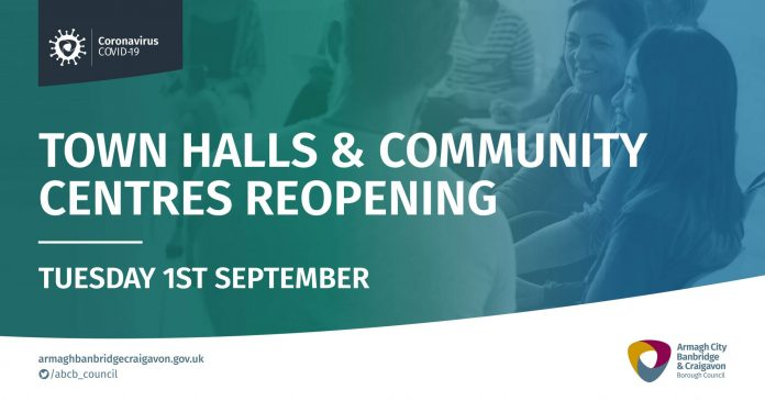 Town Halls and Community Centres to open on Tuesday 1st September.
