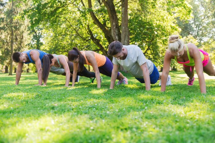 Group exercise in park