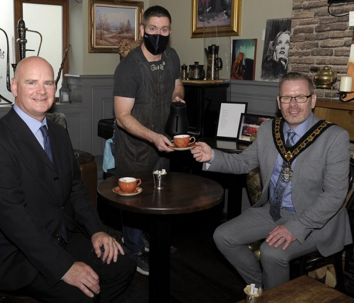 Pictured Lord Mayor of Armagh City, Banbridge and Craigavon with Councillor Kevin Savage, Chair of Economic Development and Regeneration Committee, Councillor Brian Pope and Brian King from Craic'd Pot, Armagh.