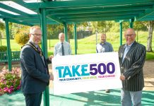 Lord Mayor and representatives hold a board with the Tak£500 logo to launch the project
