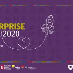 Logo of enterprise week which has a purple background and an image of a rcoket
