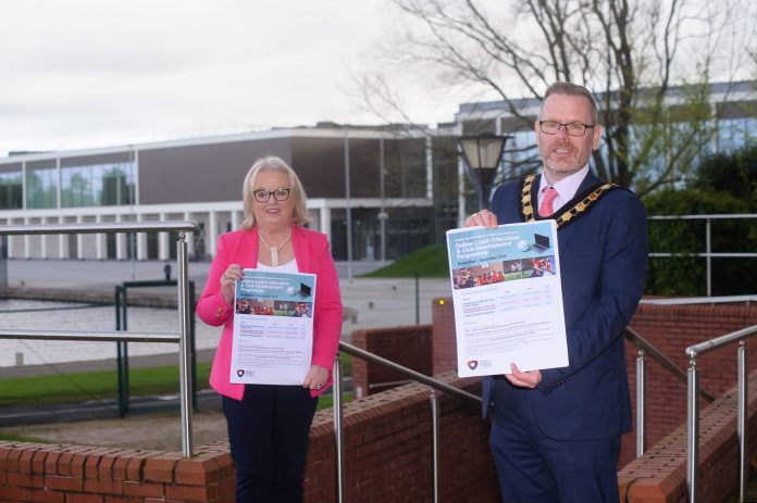 Lord Mayor, Councillor Kevin Savage is joined by Chairman of the Armagh, Banbridge and Craigavon Sports Forum, Edith Jamison, to officially launch the second set of workshops as part of the Coach Education and Club Development Programme for 2020/21.