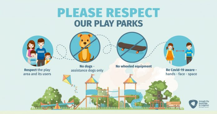 Graphic depicting play park guidance: be Covid-19 aware, no dogs, no wheeled equipment and respect the play park and others in it.