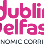 Logo with pink writing saying dublin belfast and grey writing saying economic corridor