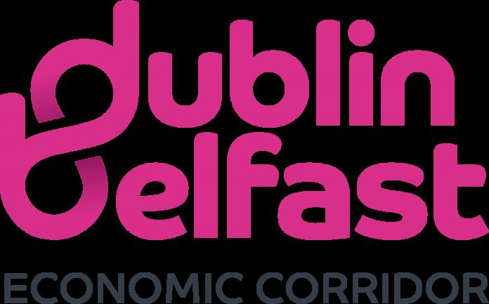 Logo with pink writing saying dublin belfast and grey writing saying economic corridor
