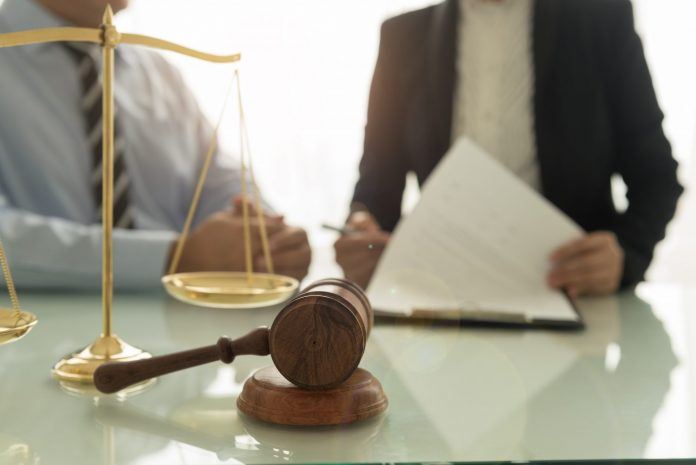 Stock image of judge's gavel and scales