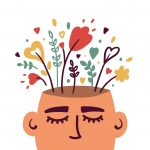 Illustration of human head with flowers depicting wellbeing and self care